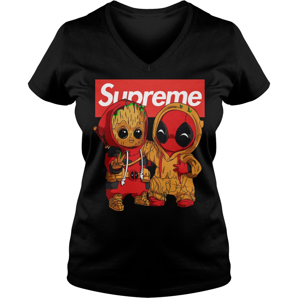 Baby Groot And Deadpool Supreme v-neck t-shirt