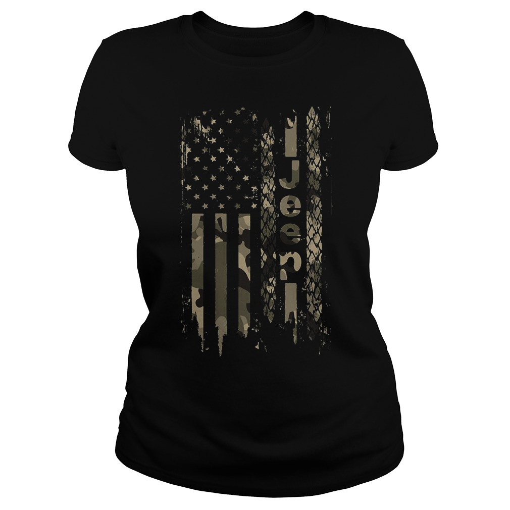 American flag jeep Ladies tee