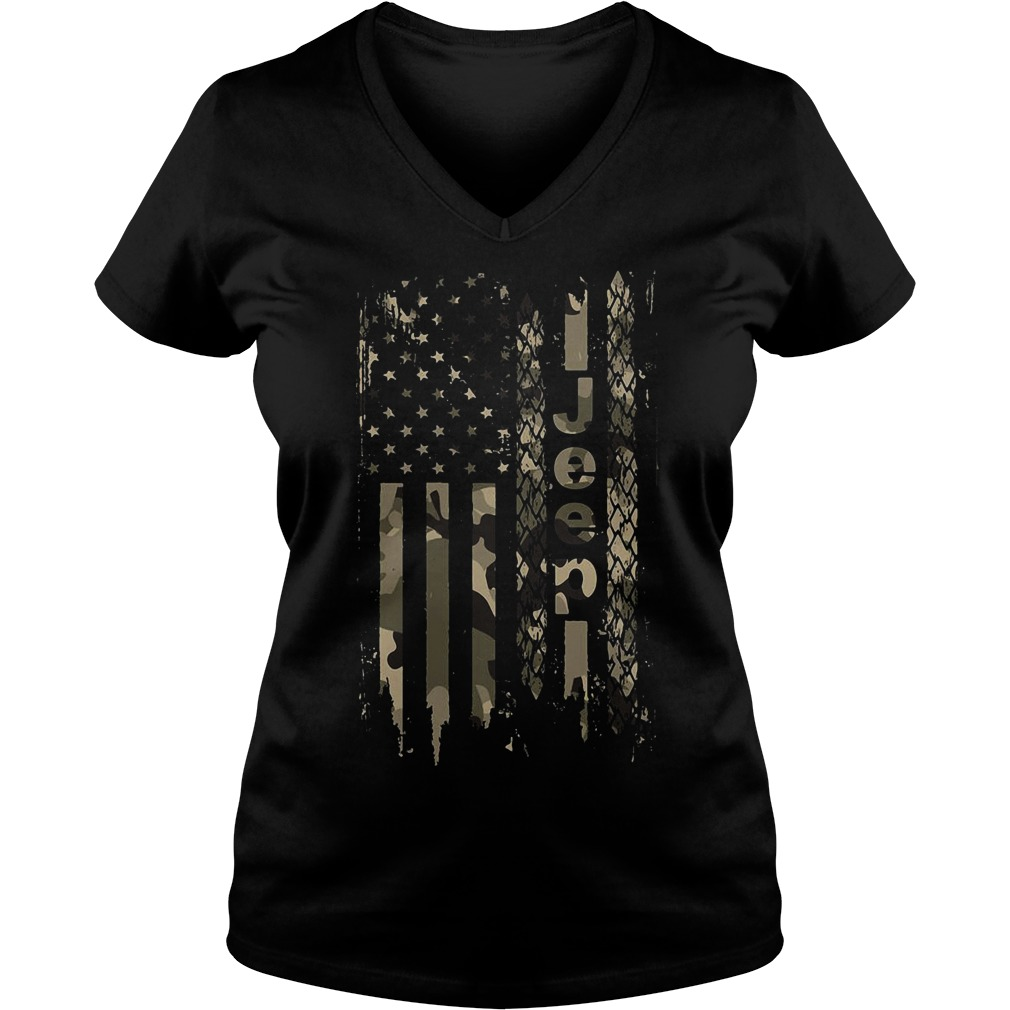 American flag jeep V-neck T-shirt
