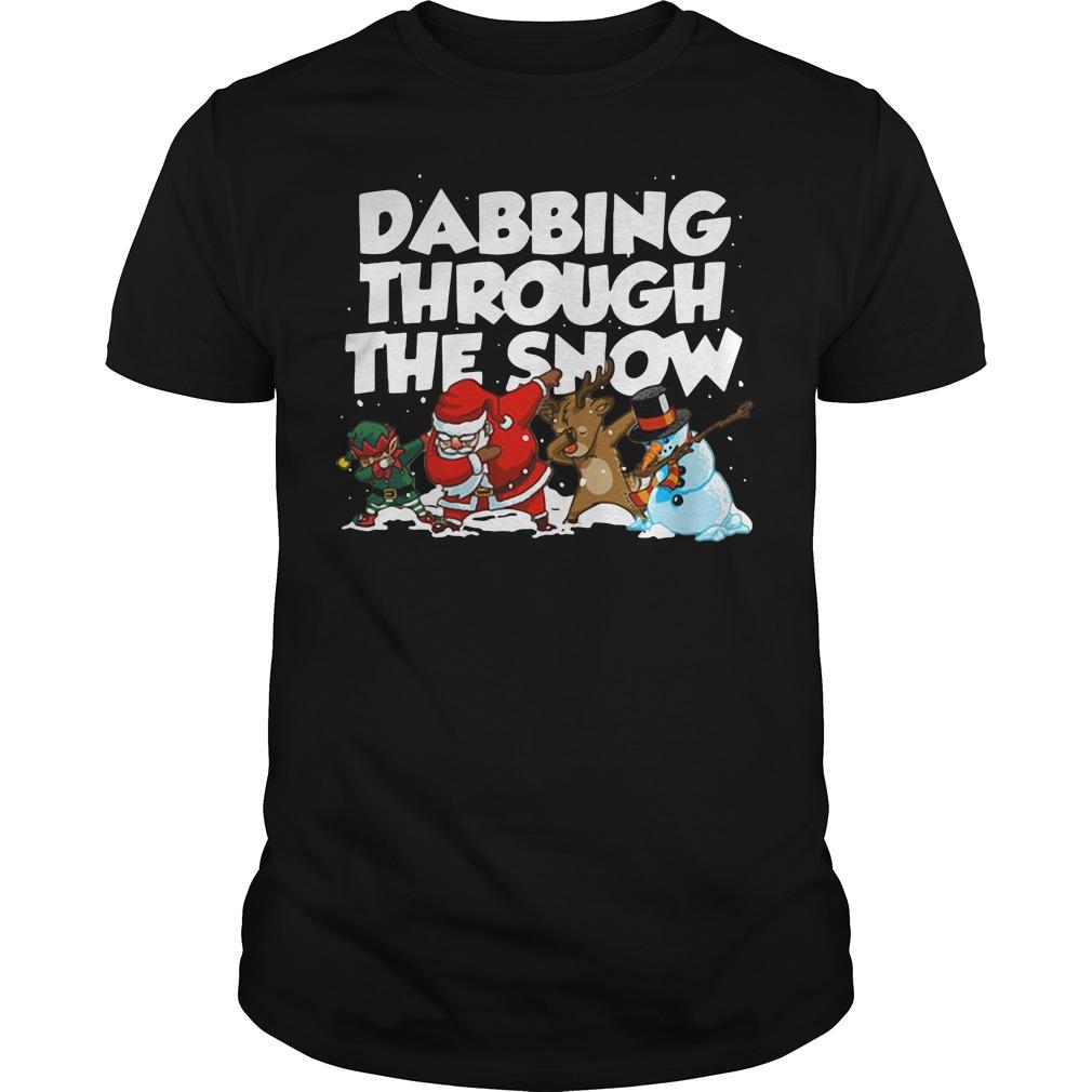 Santa Reindeer and Elf Dabbing through the snow shirt