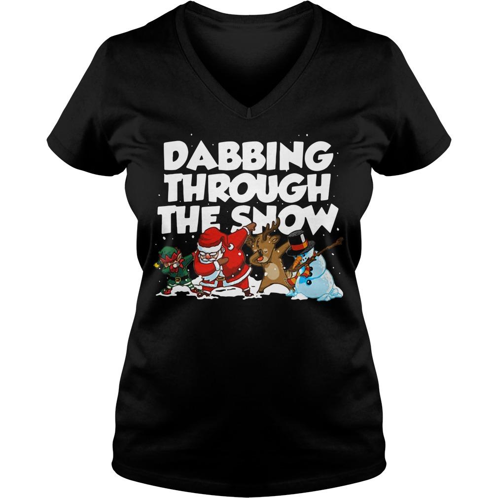 Dabbing through the snow v-neck t-shirt