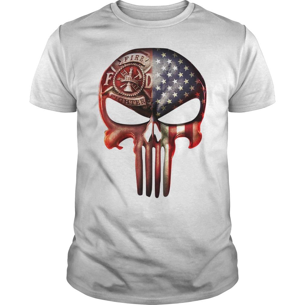 Firefighter American flag skull shirt