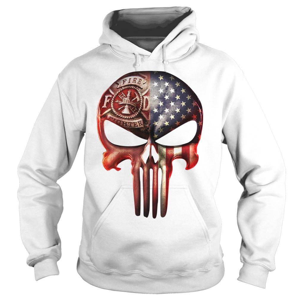 Firefighter American flag skull Hoodie