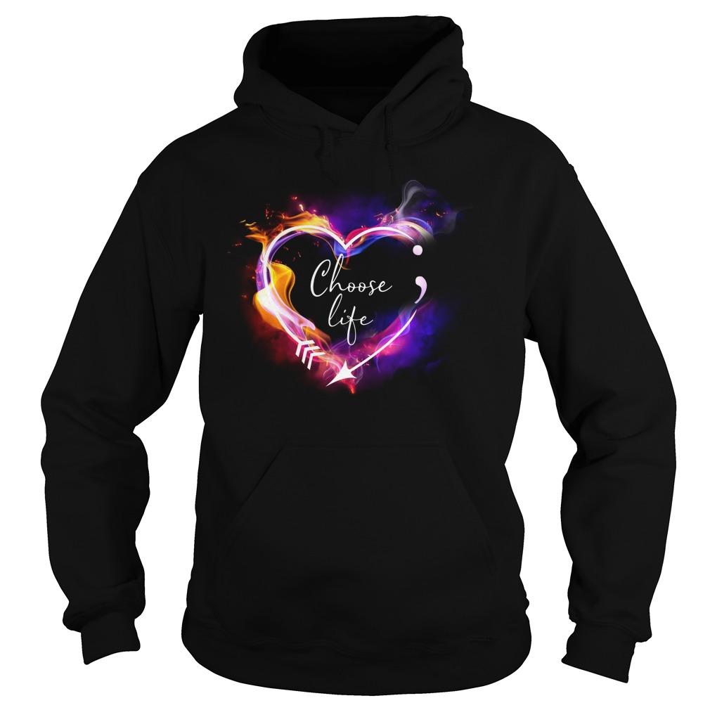 Heart Choose life semicolon arrow Hoodie