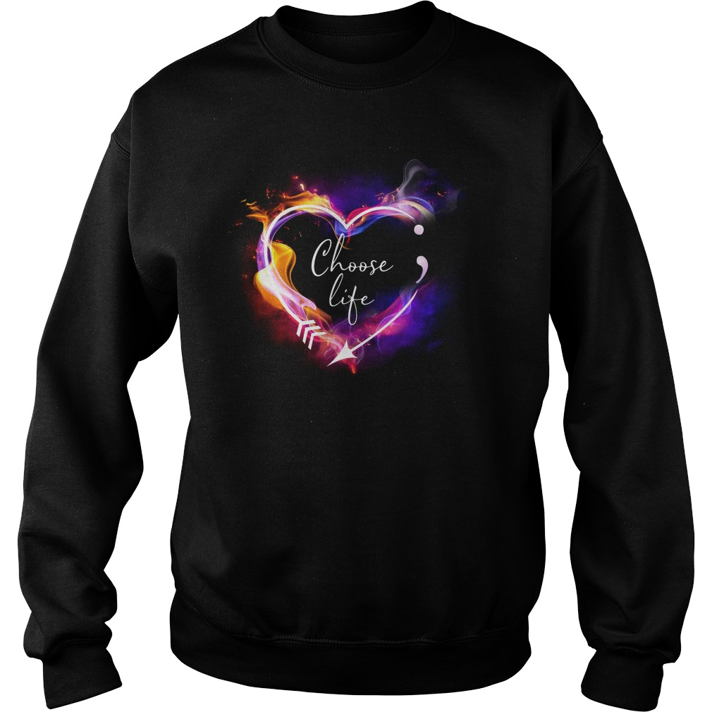 Heart Choose life semicolon arrow Sweater