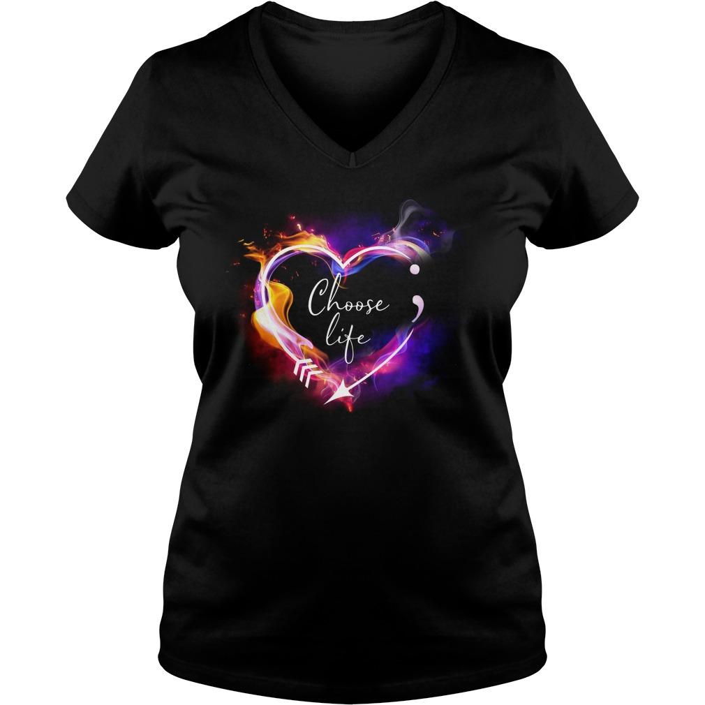 Heart Choose life semicolon arrow V-neck T-shirt
