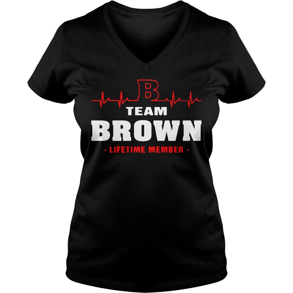 Heartbeat B team Brown lifetime member V-neck T-shirt
