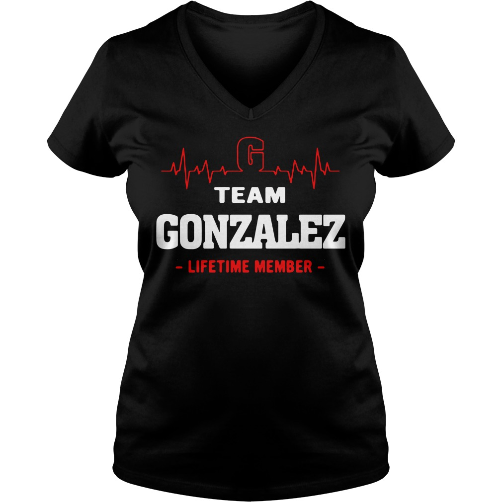 Heartbeat G team Gonzalez lifetime member V-neck T-shirt