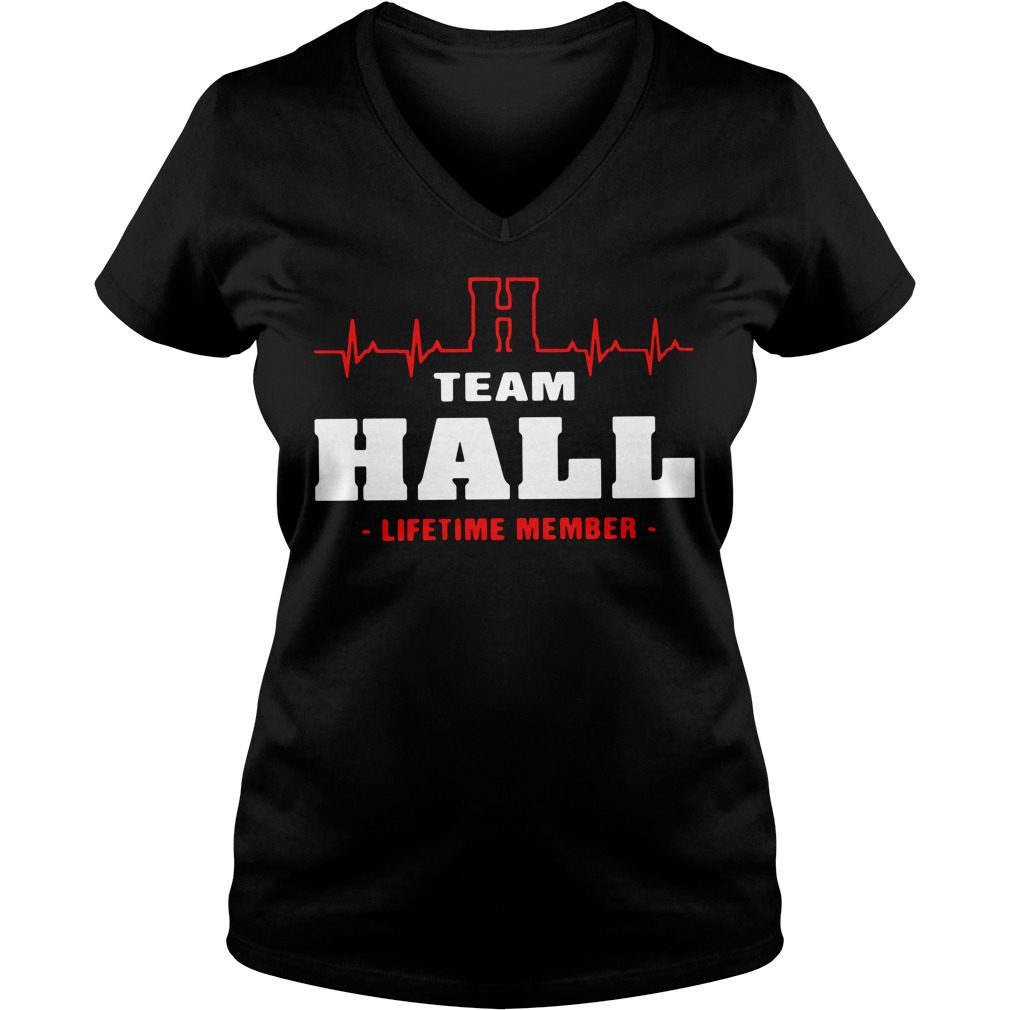 Heartbeat H team Hall lifetime member V-neck T-shirt