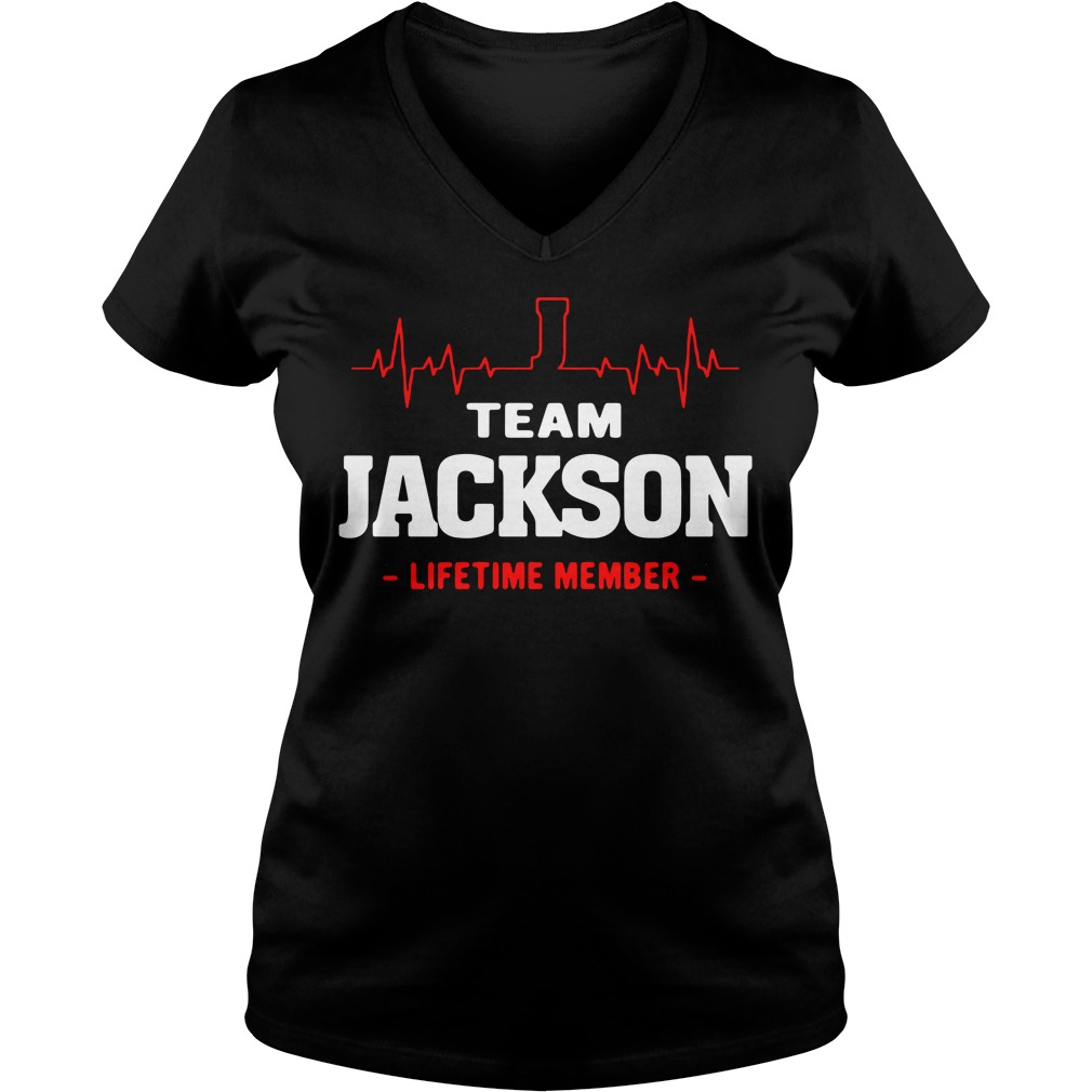 Heartbeat J team Jackson lifetime member V-neck T-shirt