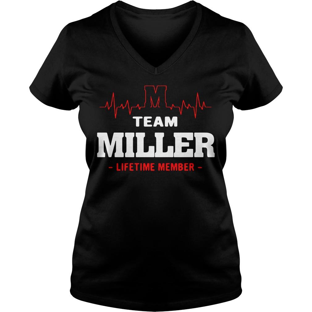 Heartbeat M team Miller lifetime member V-neck T-shirt