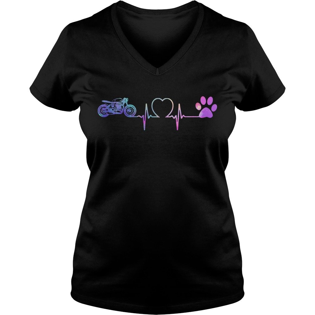 Heartbeat Motorcycle and Dog paw V-neck T-shirt