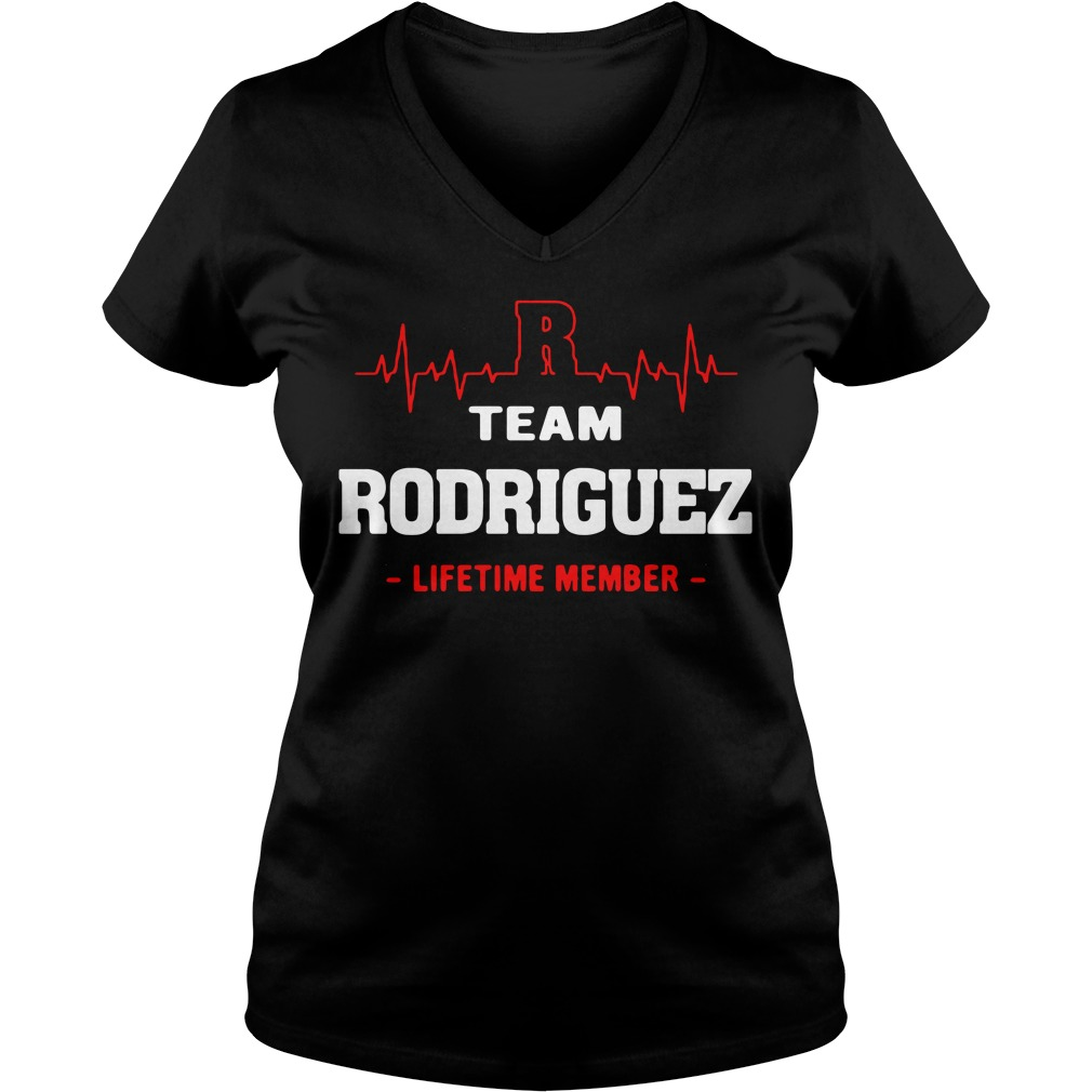 Heartbeat R team Rodriguez lifetime member V-neck T-shirt