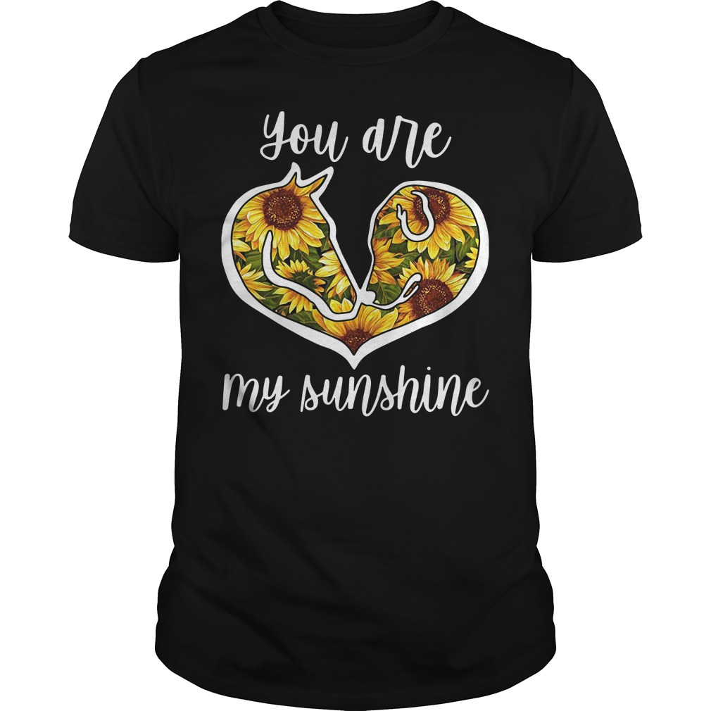 Horse and Dog sunflower you are my sunshine Guys shirt