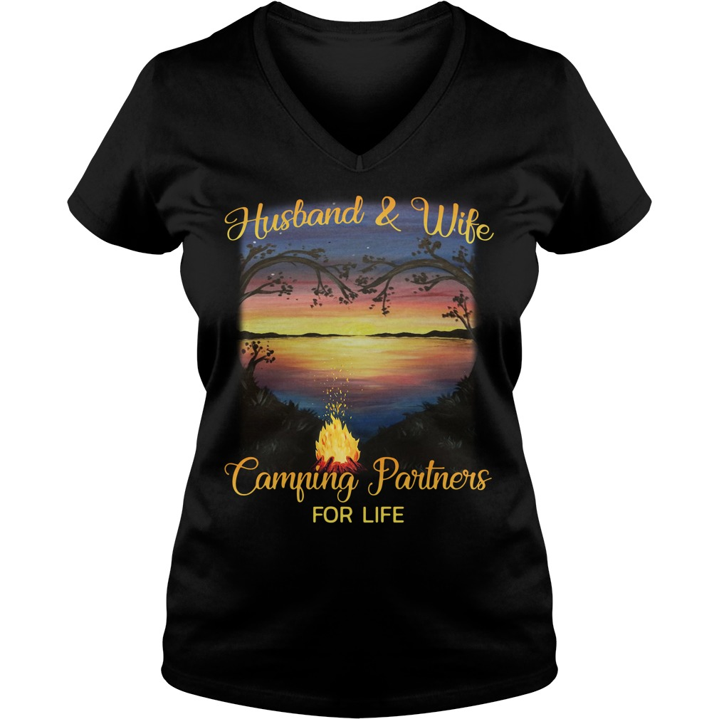 Husband and wife camping partners for life V-neck T-shirt
