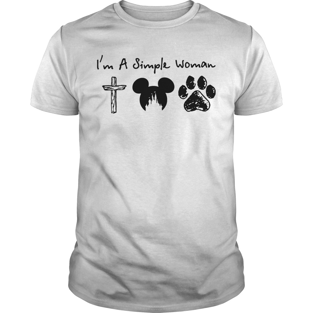 I'm a Simple Woman I like Jesus Mickey mouse and Dog paw Guys shirt