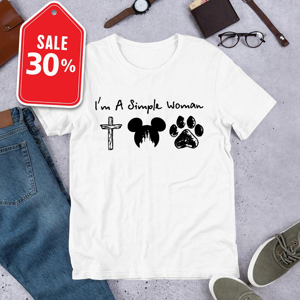 I'm a Simple Woman I like Jesus Mickey mouse and Dog paw shirt