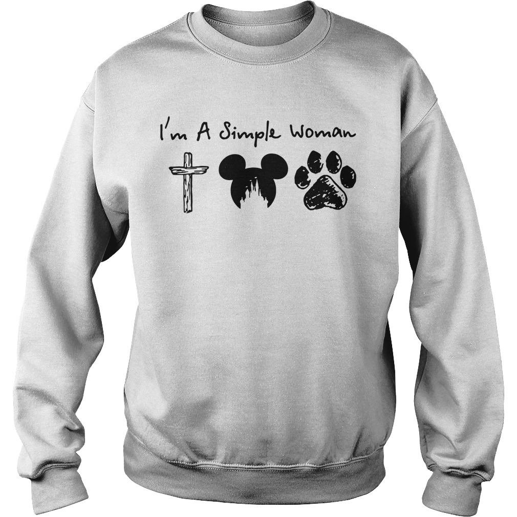 I'm a Simple Woman I like Jesus Mickey mouse and Dog paw Hoodie