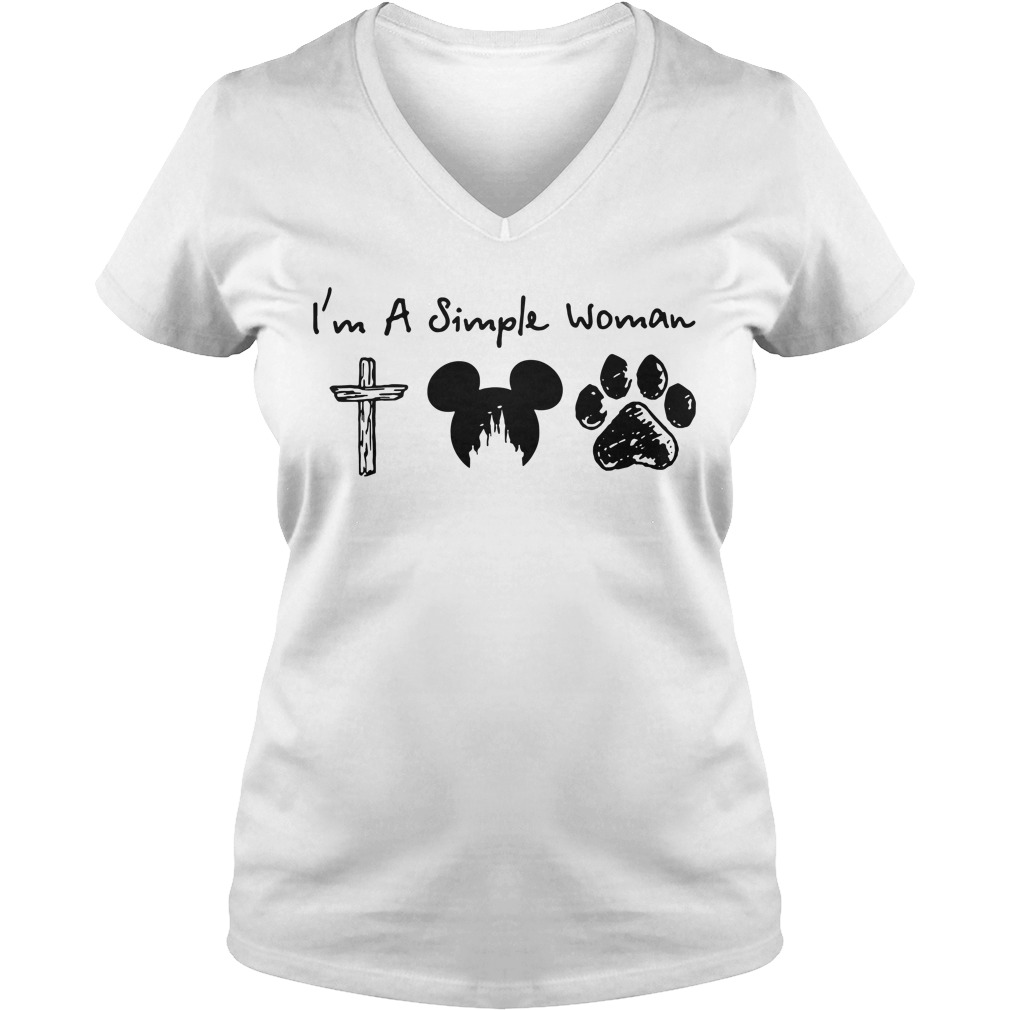 I'm a Simple Woman I like Jesus Mickey mouse and Dog paw V-neck T-shirt