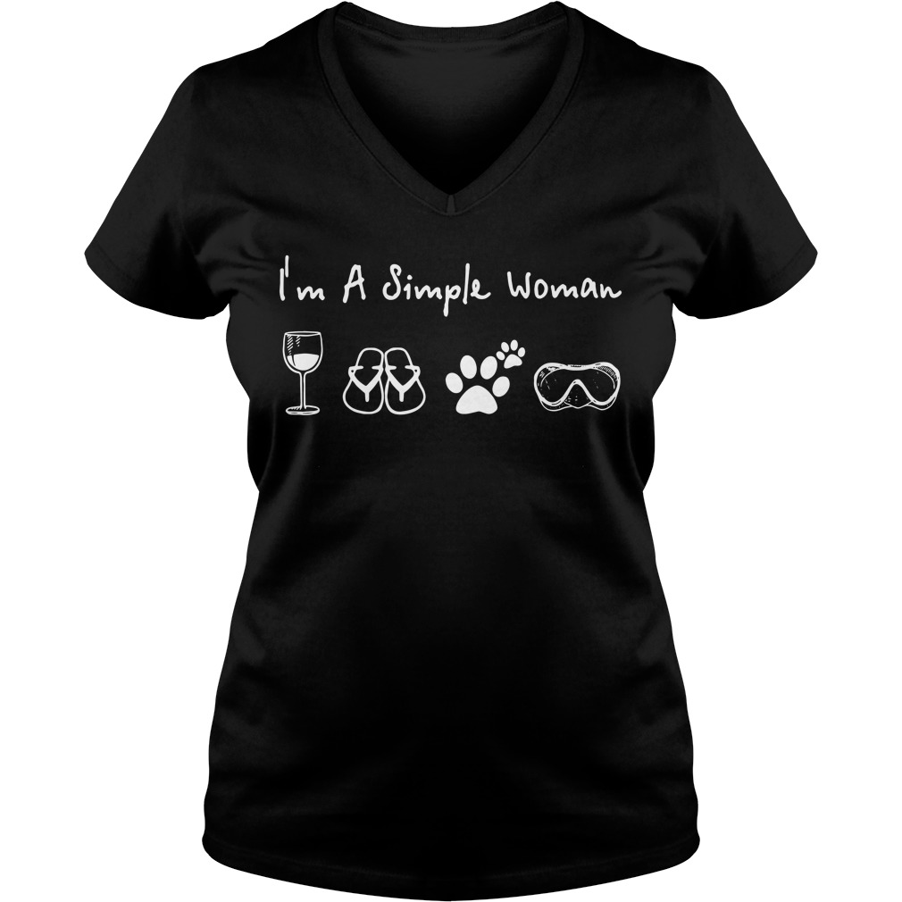 I'm a simple woman I like Wine Flip flop Dog paw and Swimming V-neck T-shirt