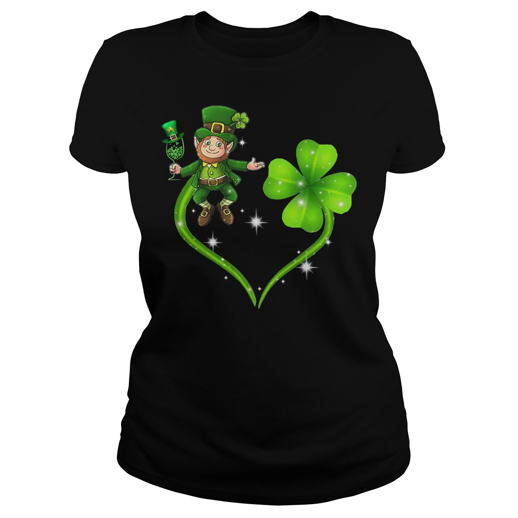 Irish day Leprechaun and Shamrock love Ladies tee