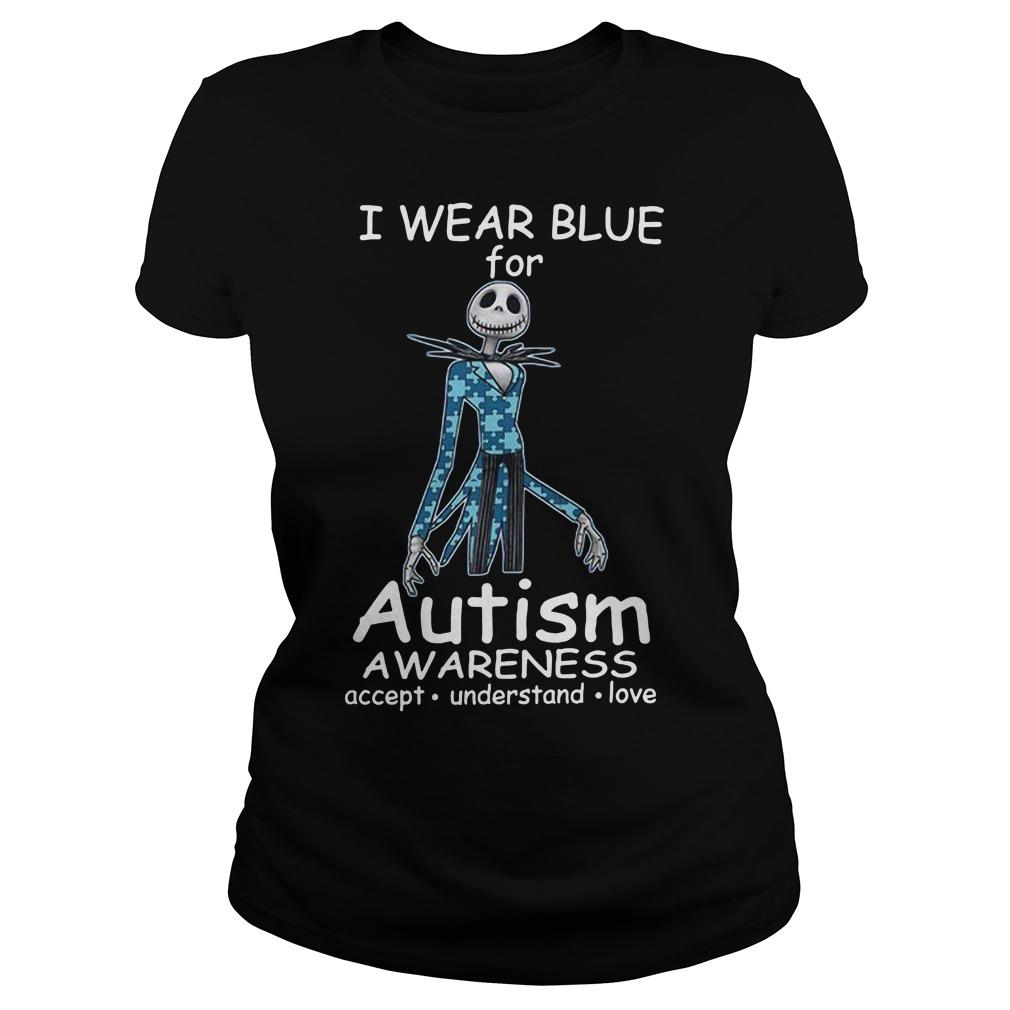 Jack skellington I wear blue for autism awareness Ladies tee