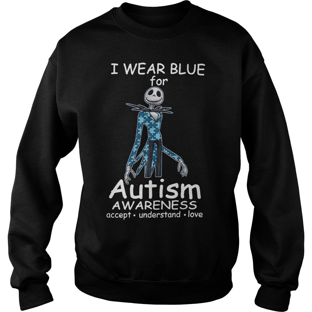 Jack skellington I wear blue for autism awareness Sweater