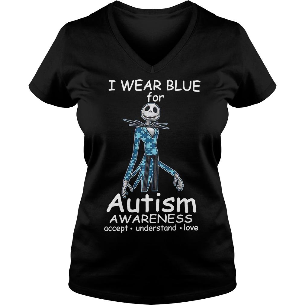Jack skellington I wear blue for autism awareness V-neck T-shirt