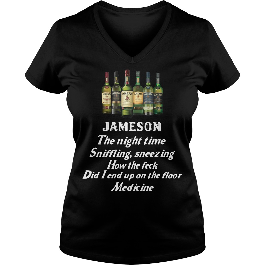 Jameson the night time sniffling sneezing how the feck did I end up V-neck T-shirt