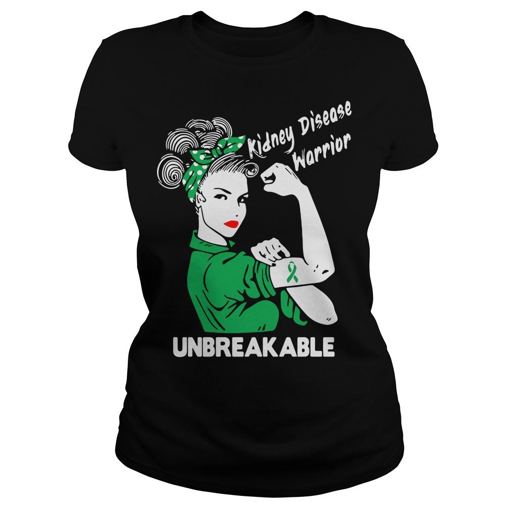 Kidney disease warrior unbreakable ladies tee