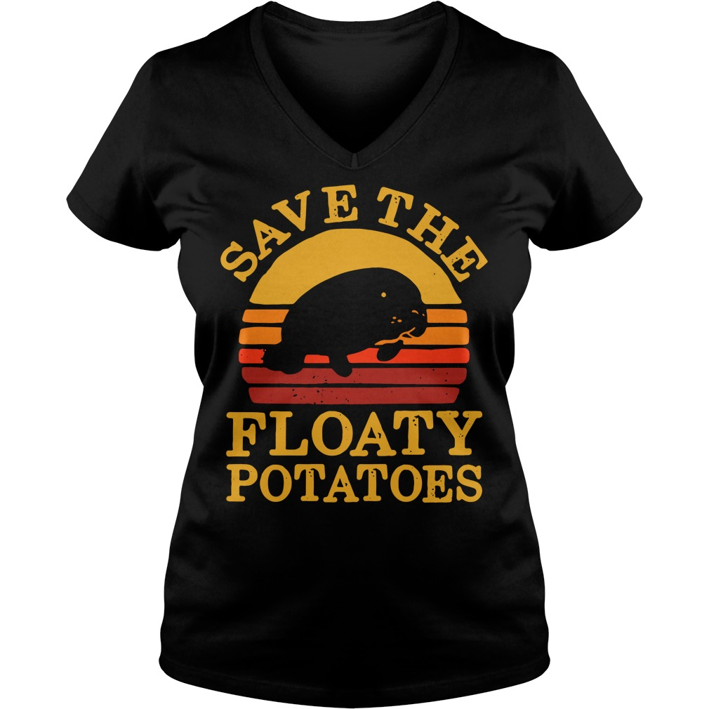 Save the floaty potatoes vintage V-neck T-shirt