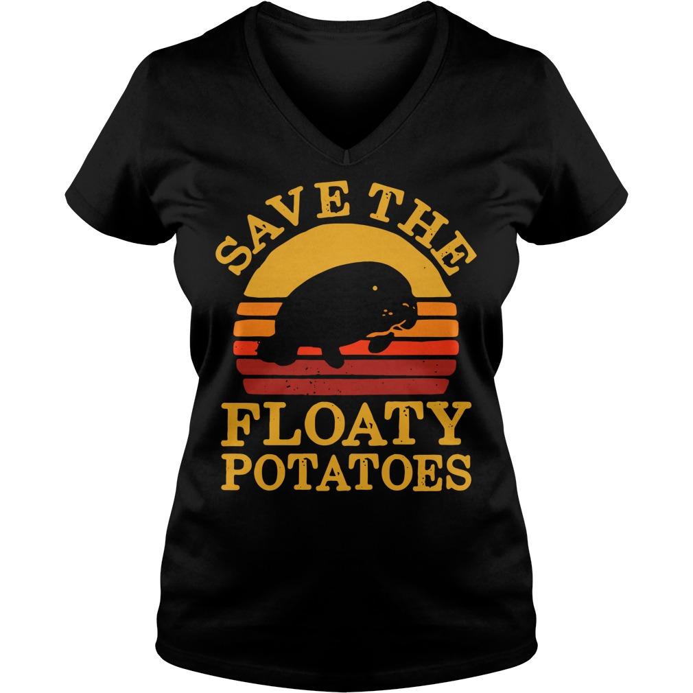 Save the floaty potatoes vintage V-neck T-shirt