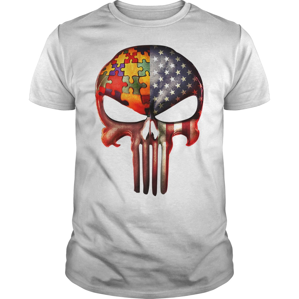 Skull autism awareness and America flag Guys shirt
