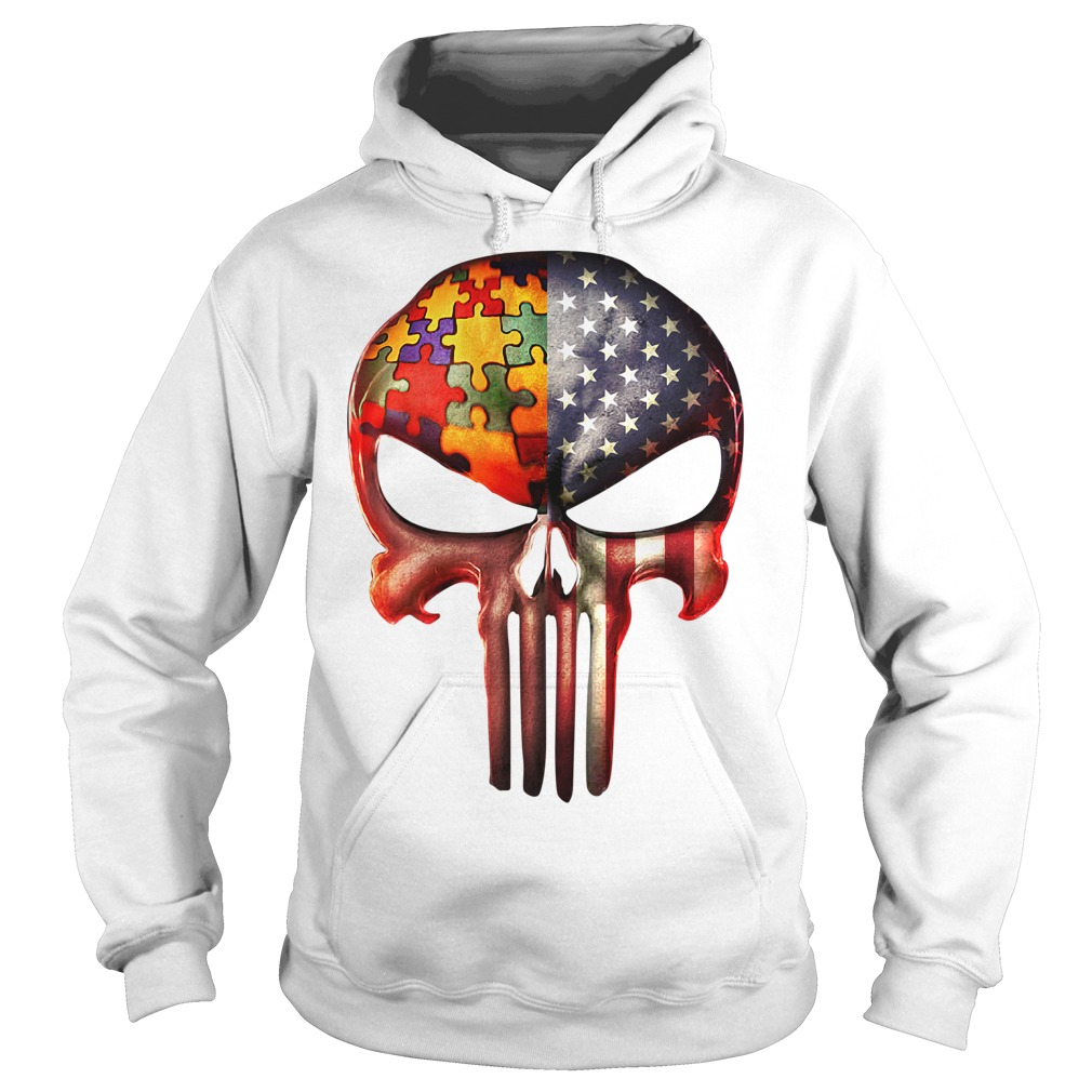 Skull autism awareness and America flag Hoodie