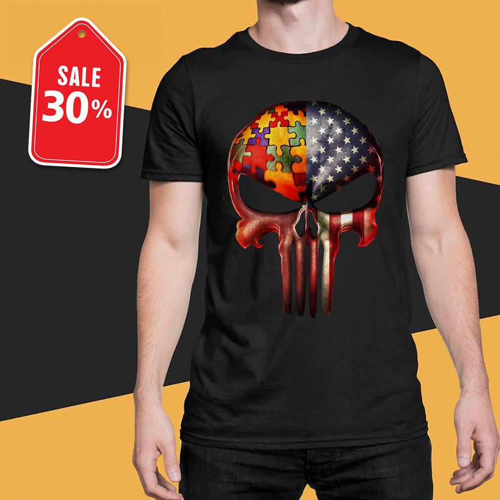 Skull autism awareness and America flag shirt
