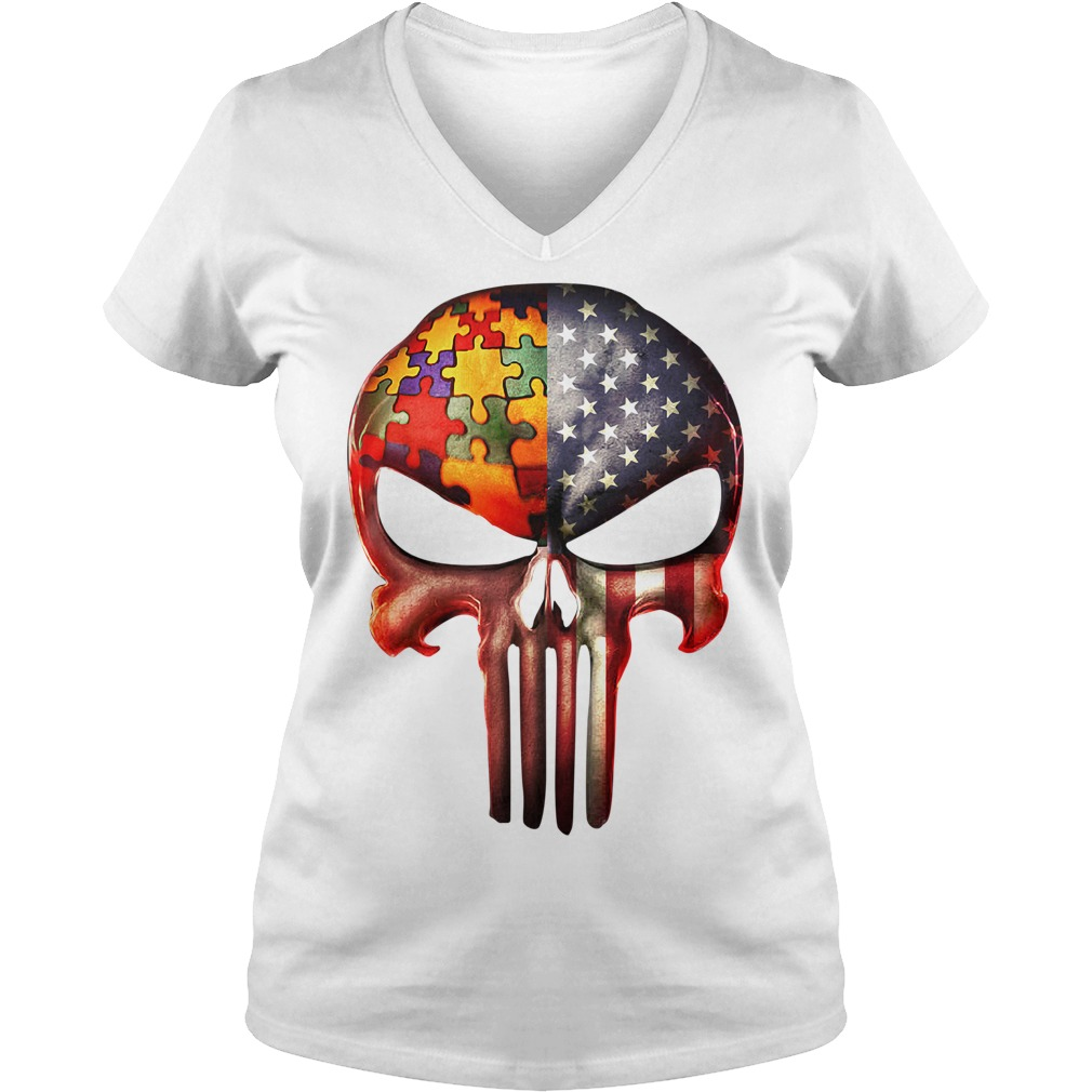 Skull autism awareness and America flag V-neck T-shirt