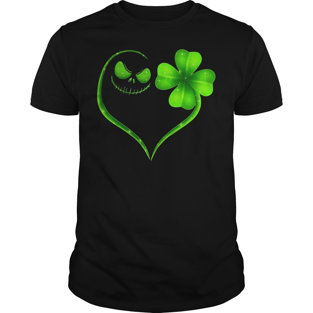 St Patrick's day Jack Skellington and Shamrock love Guys shirt
