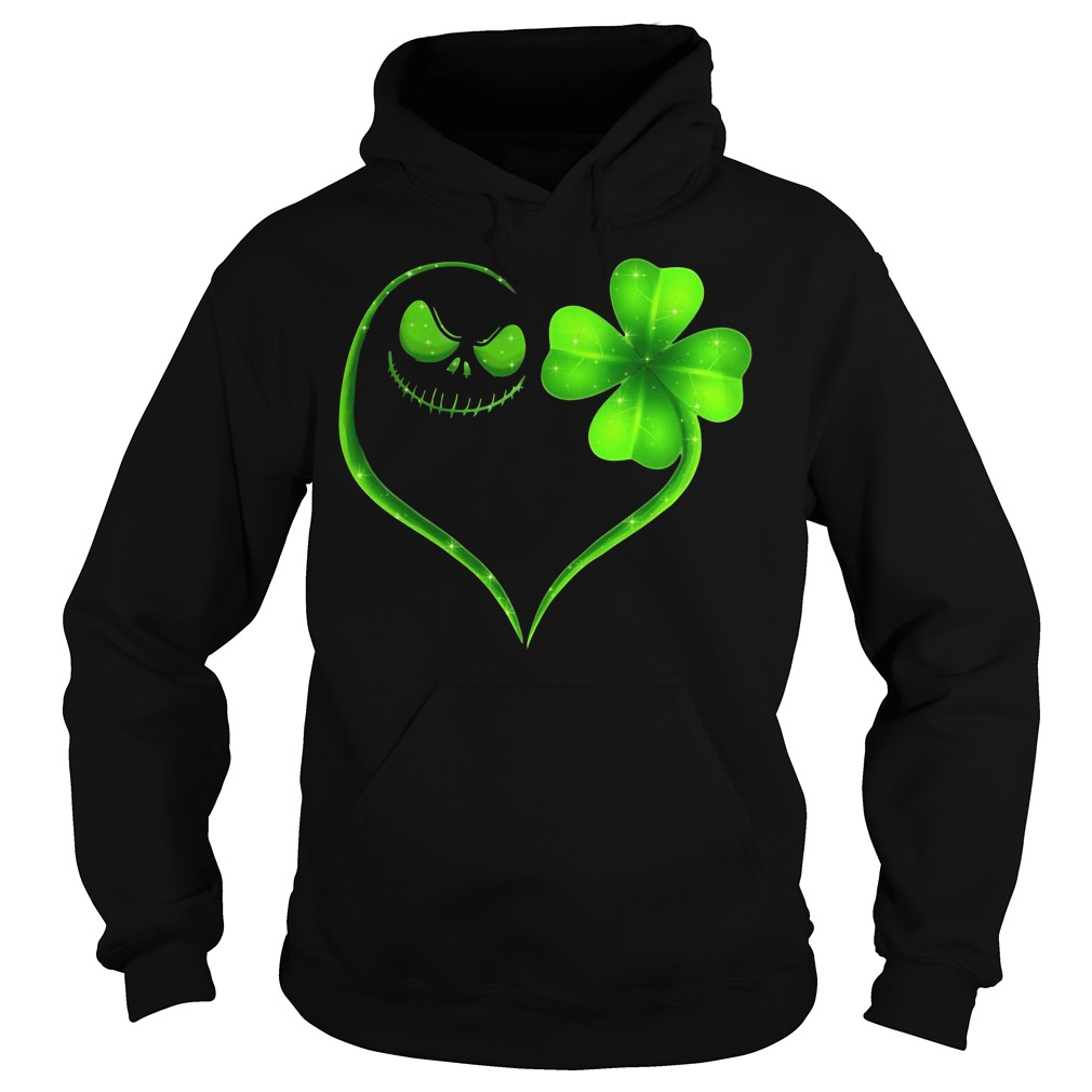 St Patrick's day Jack Skellington and Shamrock love Hoodie