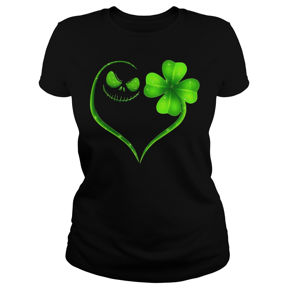 St Patrick's day Jack Skellington and Shamrock love Ladies tee