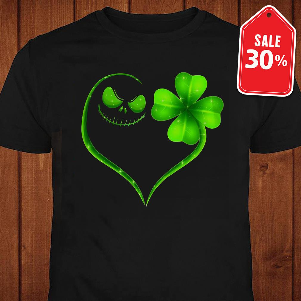 St Patrick's day Jack Skellington and Shamrock love shirt