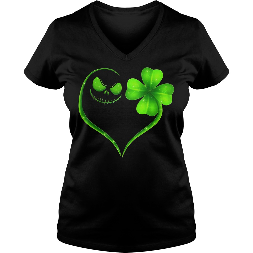 St Patrick's day Jack Skellington and Shamrock love V-neck T-shirt