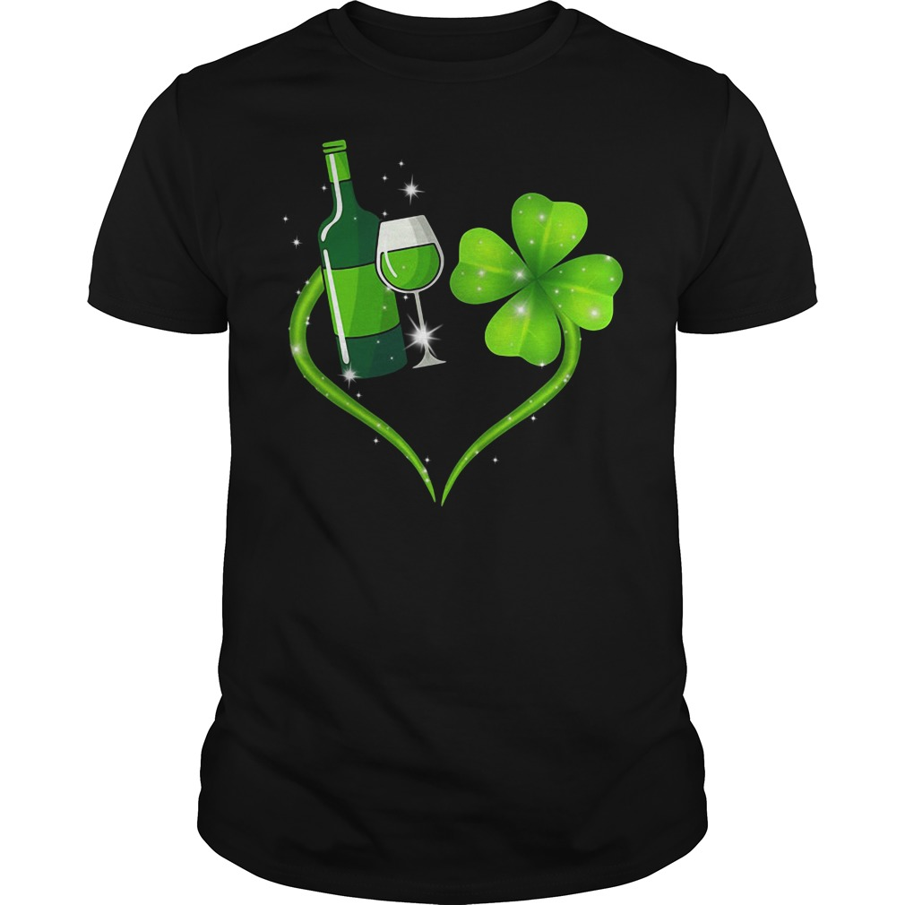 St Patrick's day Wine and Shamrock love Guys shirt