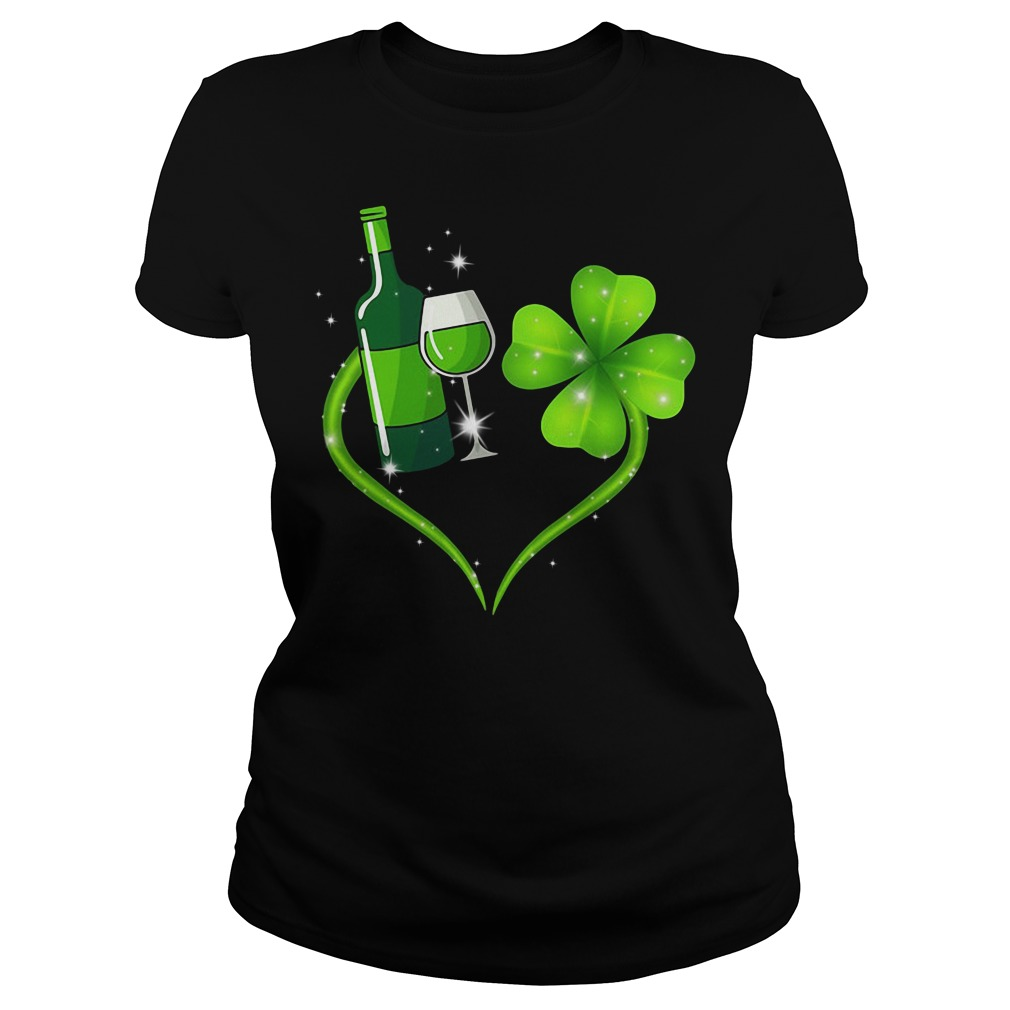 St Patrick's day Wine and Shamrock love Ladies tee