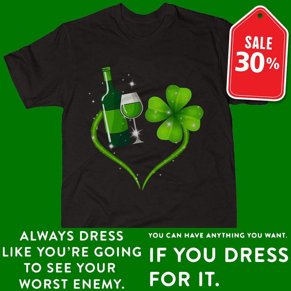 St Patrick's day Wine and Shamrock love shirt