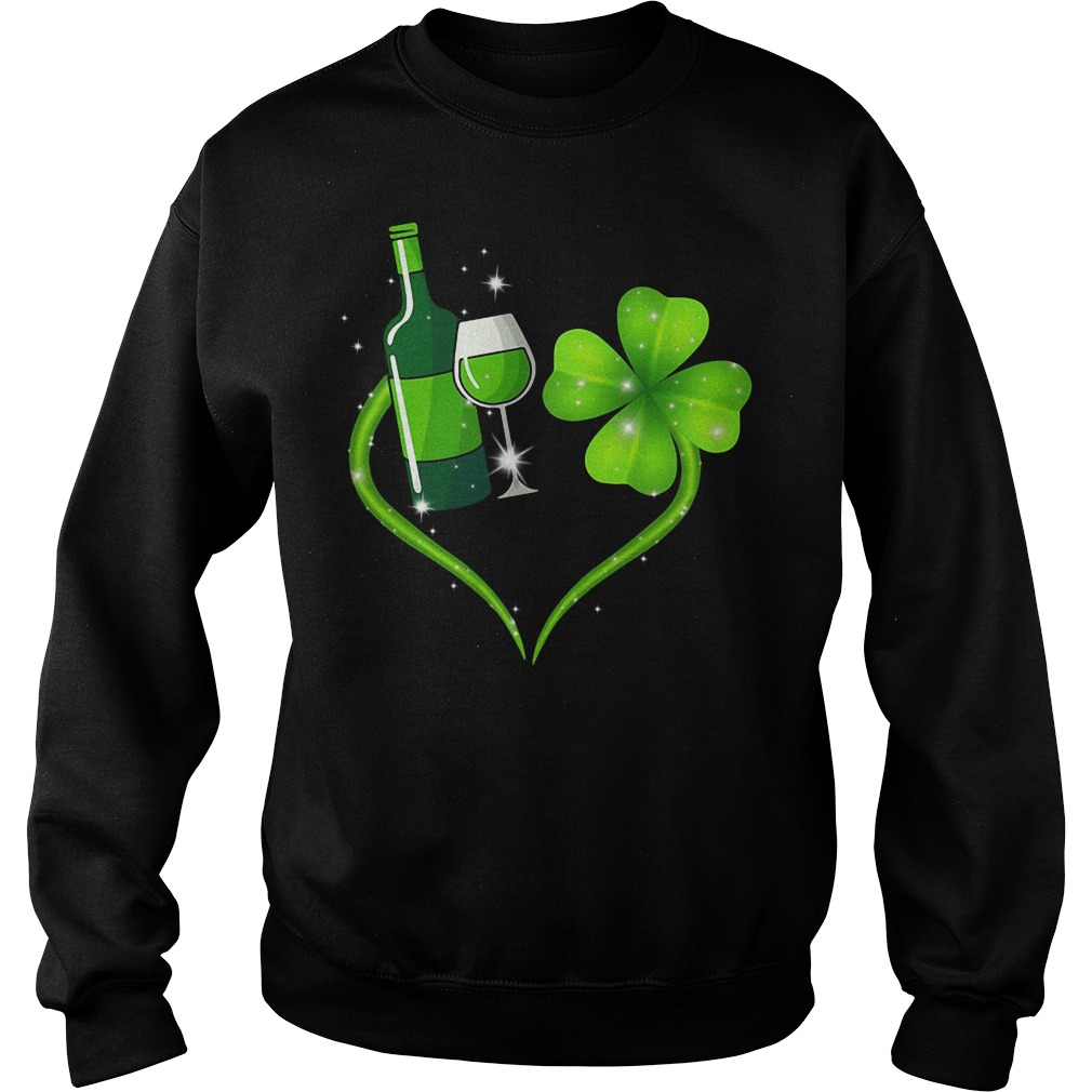 St Patrick's day Wine and Shamrock love Sweater