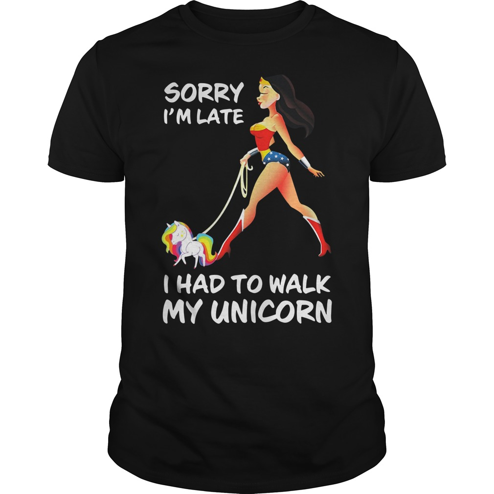 Wonder Woman sorry I'm late I had to walk my Unicorn Guys shirt