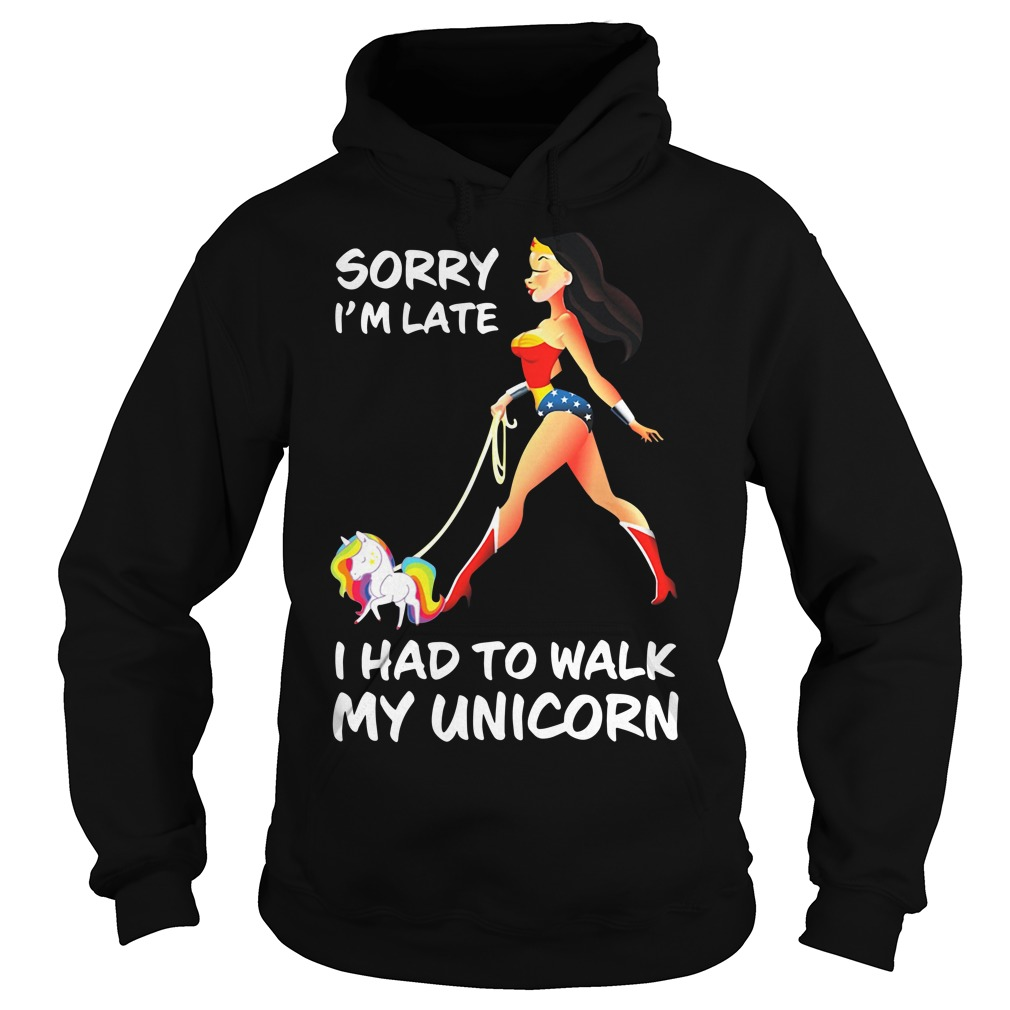 Wonder Woman sorry I'm late I had to walk my Unicorn Hoodie