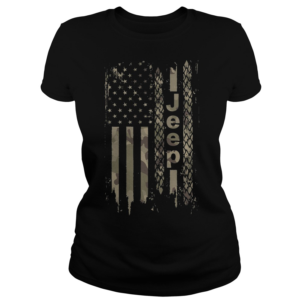 American flag camo jeep Ladies tee