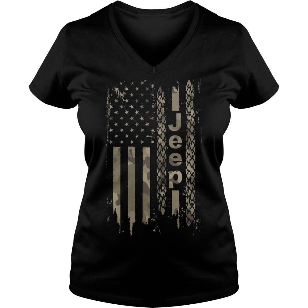 American flag camo jeep V-neck t-shirt
