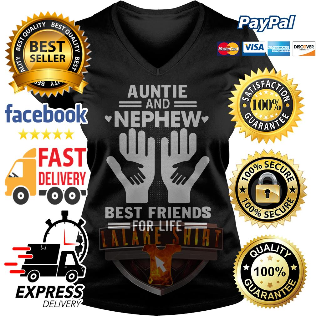 Auntie and nephew best friends for life V-neck t-shirt